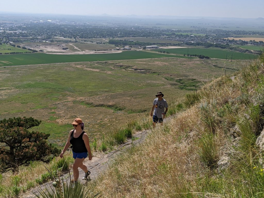 hikers on scotts bluff