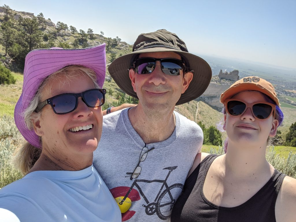 handsome hiking family