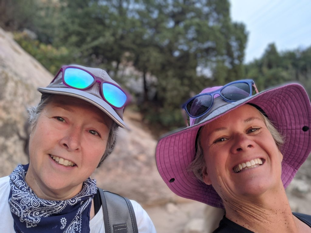 two beautiful hiking ladies