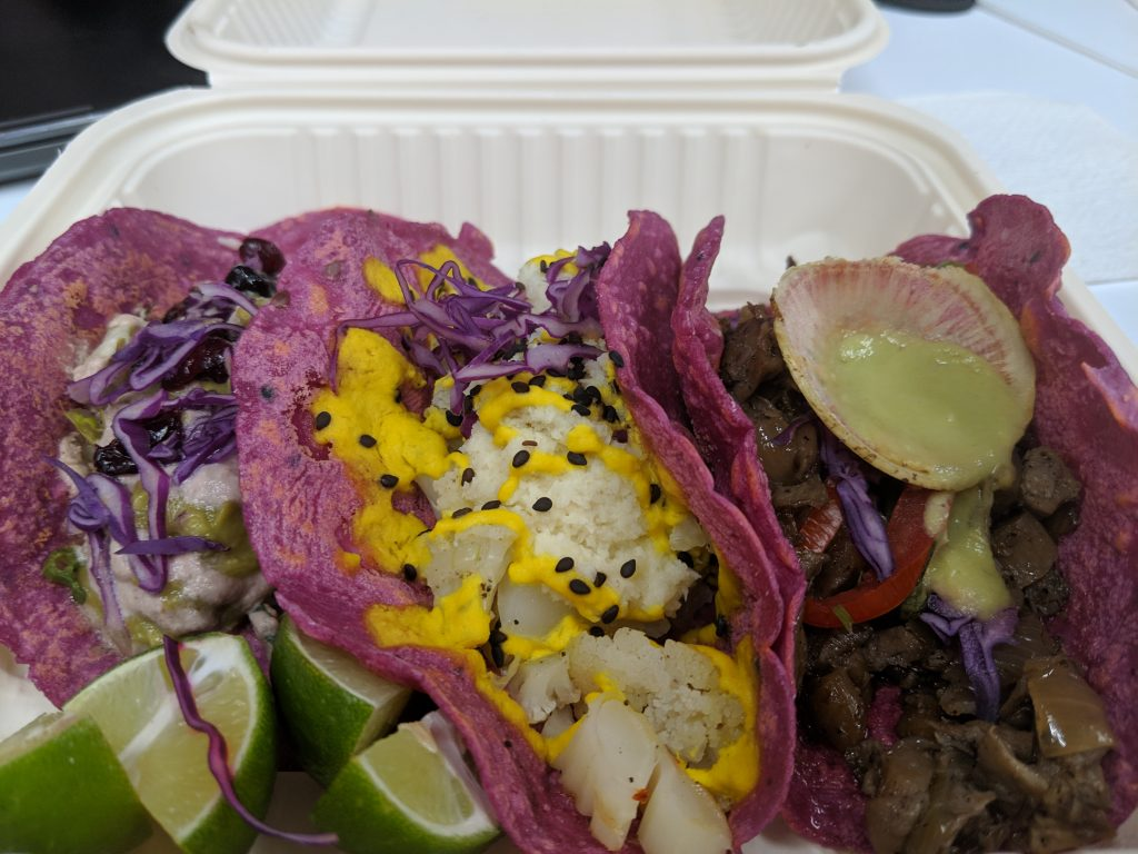 cauliflower tacos in pink tortilla
