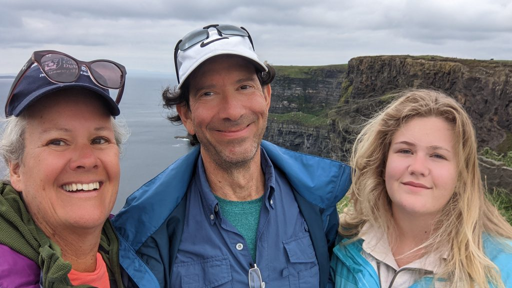three people at cliffs of Moher